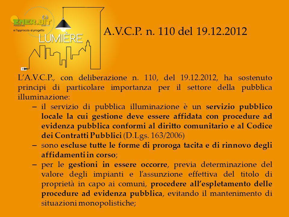 A.V.C.P.n. 110 del 19.12.2012 L'A.V.C.P., con deliberazione n.