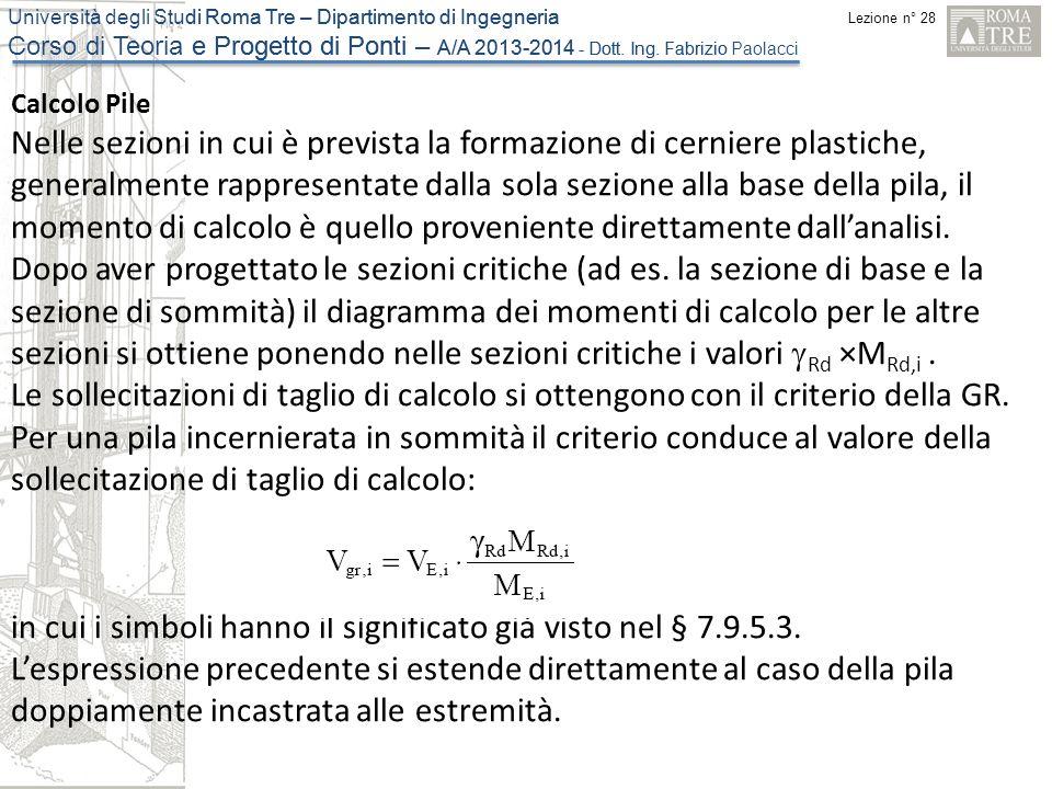 Lezione n° 28 Università degli Studi Roma Tre – Dipartimento di Ingegneria Corso di Teoria e Progetto di Ponti – A/A 2013-2014 - Dott. Ing. Fabrizio P