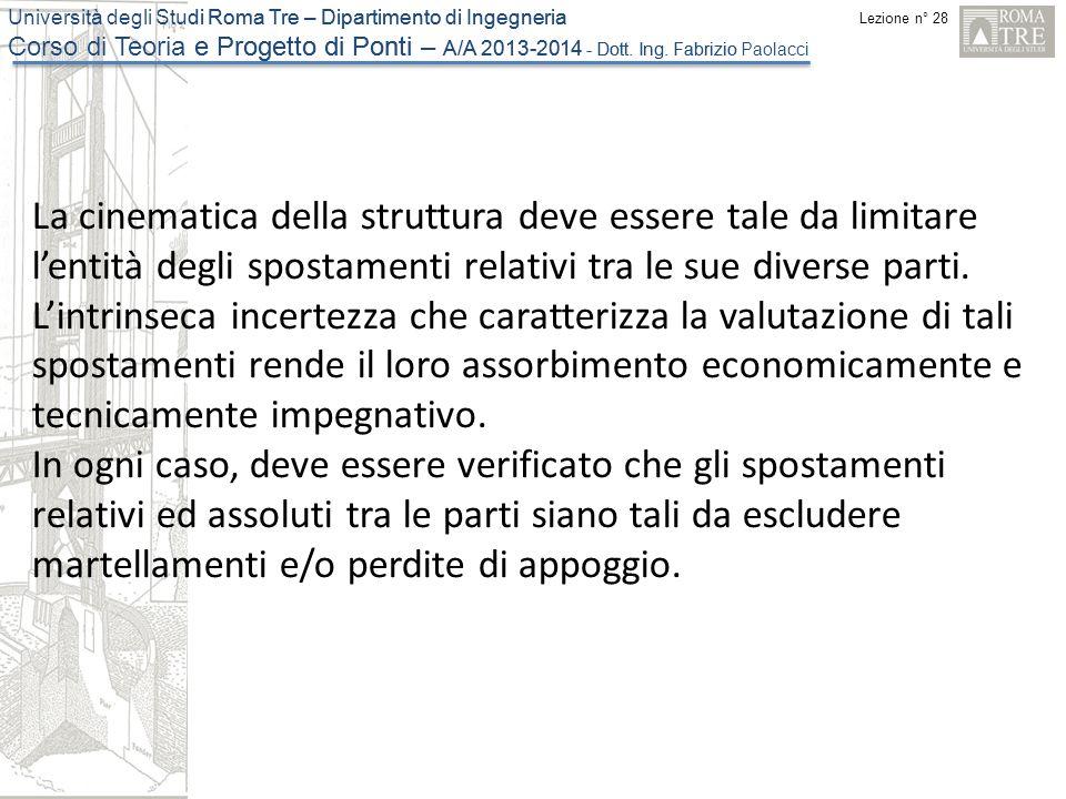 Lezione n° 28 Università degli Studi Roma Tre – Dipartimento di Ingegneria Corso di Teoria e Progetto di Ponti – A/A 2013-2014 - Dott.