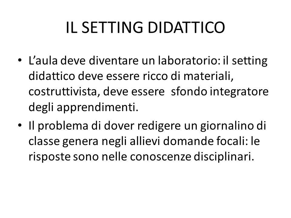 IL SETTING DIDATTICO L'aula deve diventare un laboratorio: il setting didattico deve essere ricco di materiali, costruttivista, deve essere sfondo int