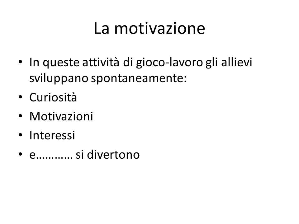 La motivazione In queste attività di gioco-lavoro gli allievi sviluppano spontaneamente: Curiosità Motivazioni Interessi e………… si divertono