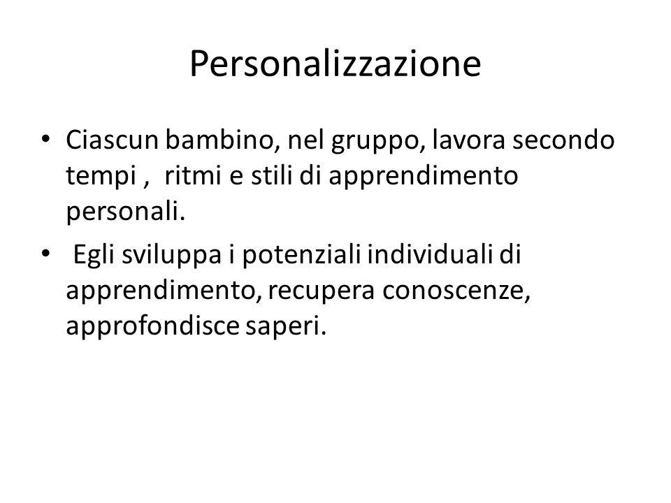 Personalizzazione Ciascun bambino, nel gruppo, lavora secondo tempi, ritmi e stili di apprendimento personali. Egli sviluppa i potenziali individuali