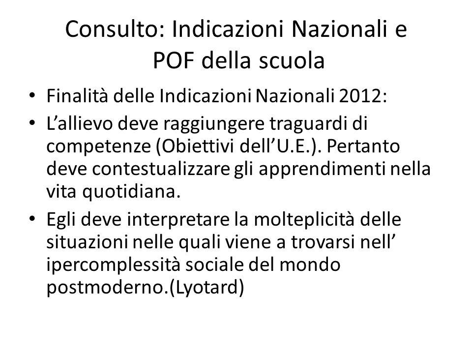Consulto: Indicazioni Nazionali e POF della scuola Finalità delle Indicazioni Nazionali 2012: L'allievo deve raggiungere traguardi di competenze (Obie