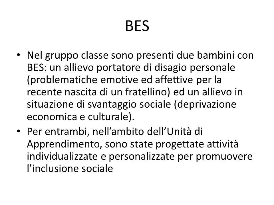 BES Nel gruppo classe sono presenti due bambini con BES: un allievo portatore di disagio personale (problematiche emotive ed affettive per la recente