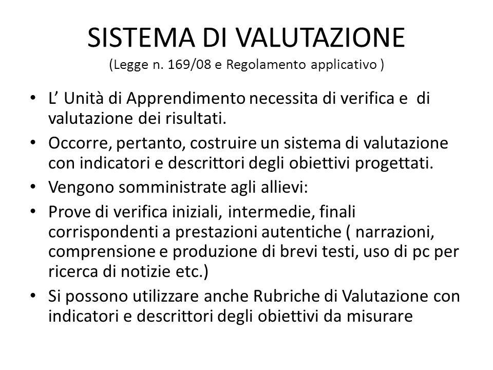 SISTEMA DI VALUTAZIONE (Legge n. 169/08 e Regolamento applicativo ) L' Unità di Apprendimento necessita di verifica e di valutazione dei risultati. Oc