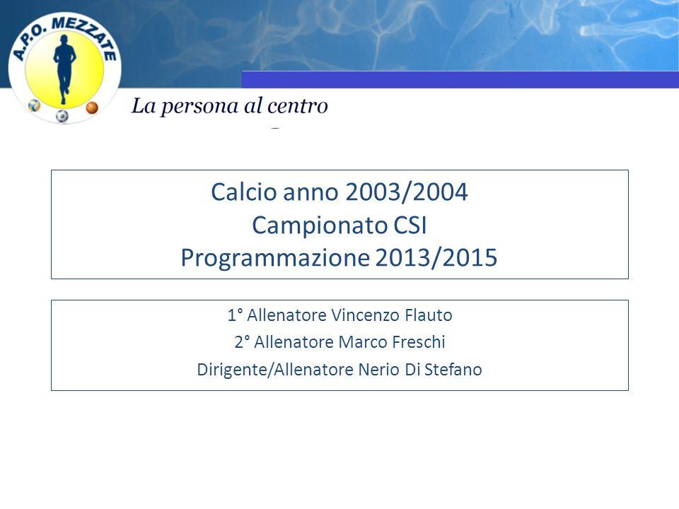 Calcio anno 2003/2004 Campionato CSI Programmazione 2013/2015 1° Allenatore Vincenzo Flauto 2° Allenatore Marco Freschi Dirigente/Allenatore Nerio Di Stefano