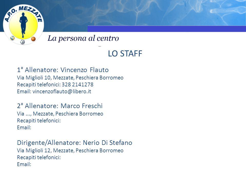 LO STAFF 1° Allenatore: Vincenzo Flauto Via Miglioli 10, Mezzate, Peschiera Borromeo Recapiti telefonici: 328 2141278 Email: vincenzoflauto@libero.it