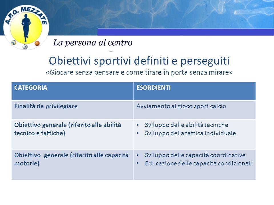 Obiettivi sportivi definiti e perseguiti «Giocare senza pensare e come tirare in porta senza mirare» CATEGORIAESORDIENTI Finalità da privilegiareAvvia