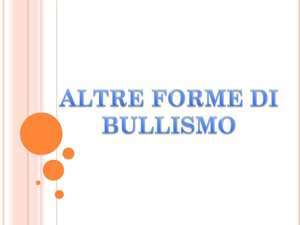 FORME DI BULLISMO IL BULLISMO SI MANIFESTA IN DIVERSE FORME: FORMA DIRETTA:FISICHE(PICCHIARE, SPINGERE,RUBARE PICCOLE SOMME DI DENARO ECC.)O VERBALI (