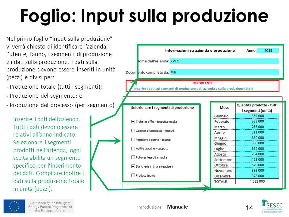 Co-funded by the Intelligent Energy Europe Programme of the European Union 14 Foglio: Input sulla produzione Introduzione – Manuale Inserire i dati dell'azienda.