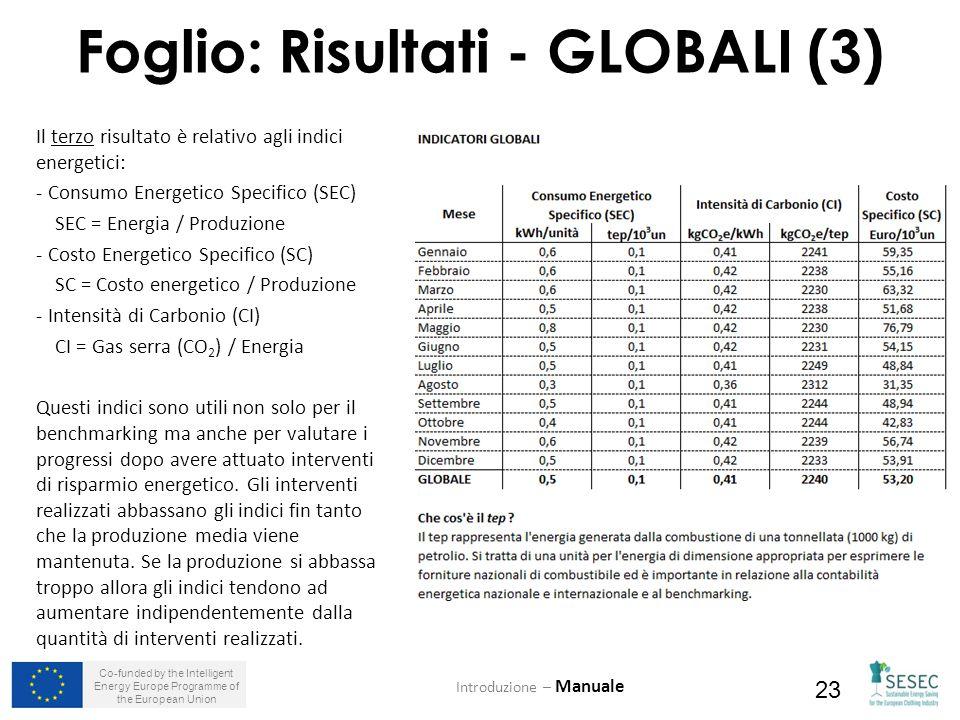 Co-funded by the Intelligent Energy Europe Programme of the European Union 23 Foglio: Risultati - GLOBALI (3) Introduzione – Manuale Il terzo risultato è relativo agli indici energetici: - Consumo Energetico Specifico (SEC) SEC = Energia / Produzione - Costo Energetico Specifico (SC) SC = Costo energetico / Produzione - Intensità di Carbonio (CI) CI = Gas serra (CO 2 ) / Energia Questi indici sono utili non solo per il benchmarking ma anche per valutare i progressi dopo avere attuato interventi di risparmio energetico.