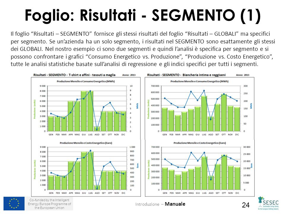 "Co-funded by the Intelligent Energy Europe Programme of the European Union 24 Foglio: Risultati - SEGMENTO (1) Introduzione – Manuale Il foglio ""Risul"