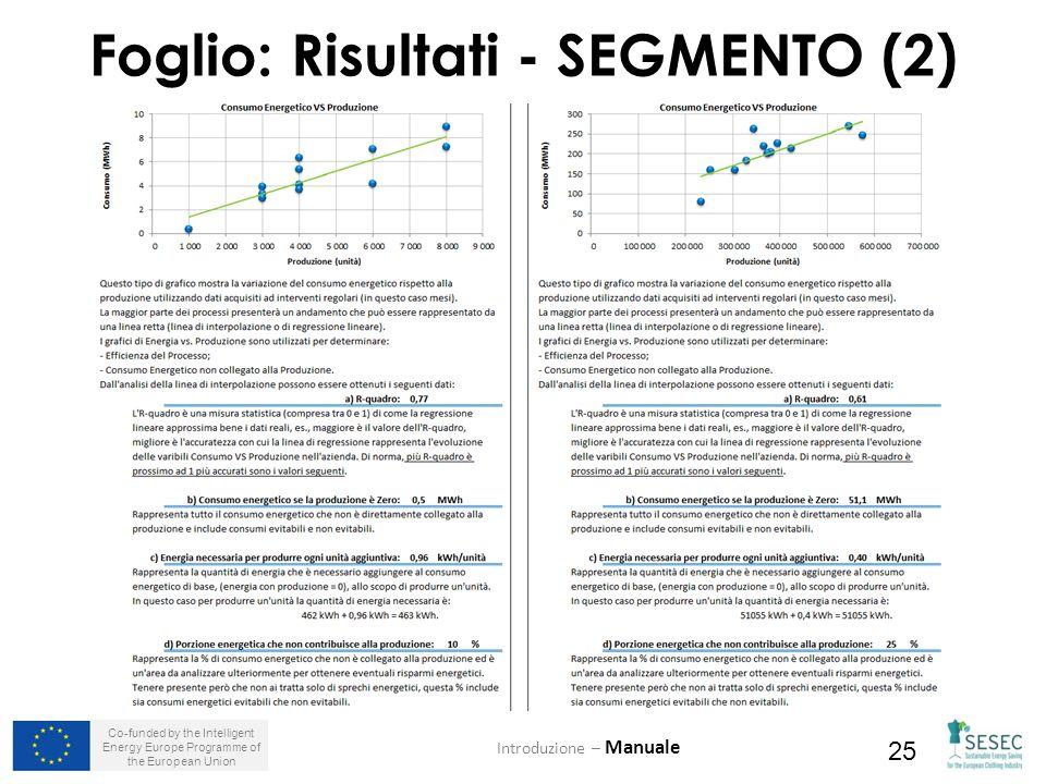 Co-funded by the Intelligent Energy Europe Programme of the European Union 25 Foglio: Risultati - SEGMENTO (2) Introduzione – Manuale
