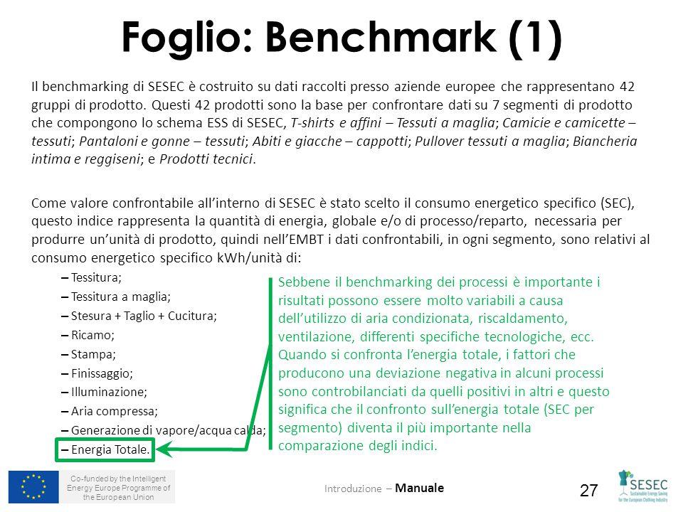 Co-funded by the Intelligent Energy Europe Programme of the European Union 27 Foglio: Benchmark (1) Introduzione – Manuale Il benchmarking di SESEC è costruito su dati raccolti presso aziende europee che rappresentano 42 gruppi di prodotto.