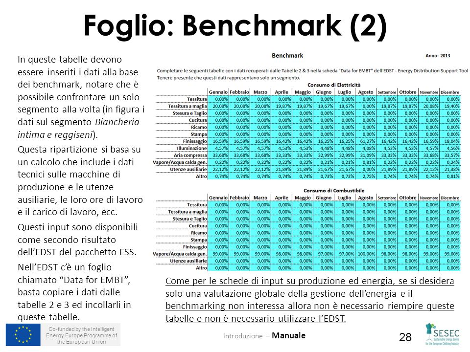 Co-funded by the Intelligent Energy Europe Programme of the European Union 28 Foglio: Benchmark (2) In queste tabelle devono essere inseriti i dati al