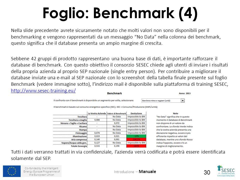 Co-funded by the Intelligent Energy Europe Programme of the European Union 30 Nella slide precedente avrete sicuramente notato che molti valori non sono disponibili per il benchmarking e vengono rappresentati da un messaggio No Data nella colonna dei benchmark, questo significa che il database presenta un ampio margine di crescita.