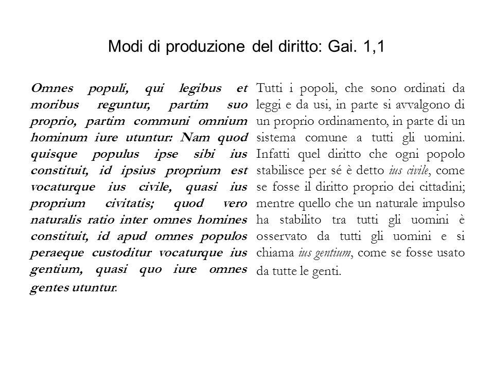 Modi di produzione del diritto: Gai. 1,1 Omnes populi, qui legibus et moribus reguntur, partim suo proprio, partim communi omnium hominum iure utuntur