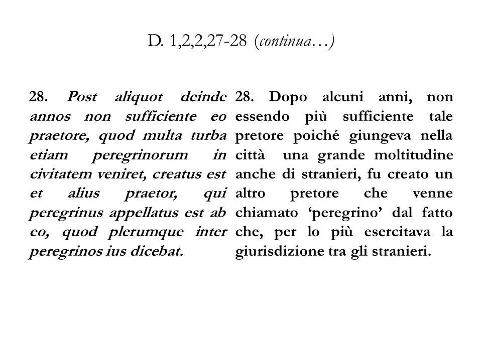 D. 1,2,2,27-28 (continua…) 28. Post aliquot deinde annos non sufficiente eo praetore, quod multa turba etiam peregrinorum in civitatem veniret, creatu