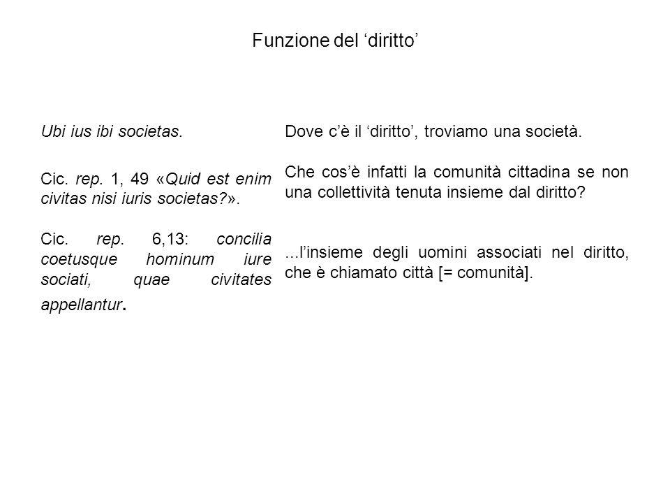 Funzione del 'diritto' Ubi ius ibi societas. Cic. rep. 1, 49 «Quid est enim civitas nisi iuris societas?». Cic. rep. 6,13: concilia coetusque hominum