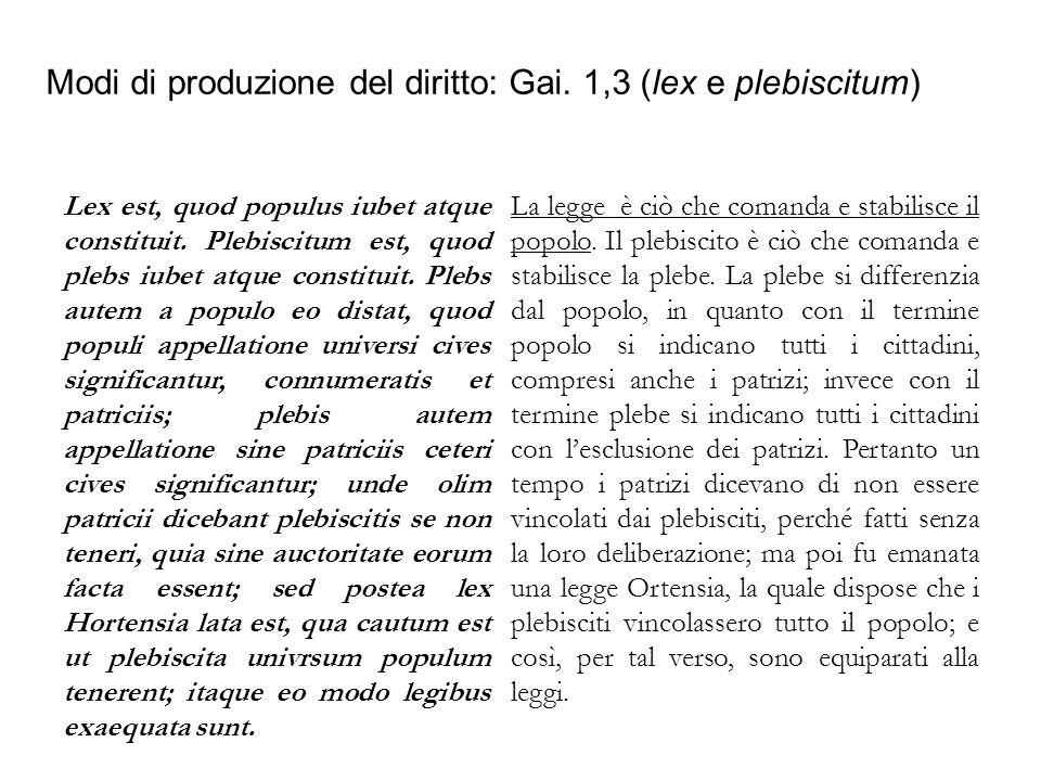 Modi di produzione del diritto: Gai. 1,3 (lex e plebiscitum) Lex est, quod populus iubet atque constituit. Plebiscitum est, quod plebs iubet atque con