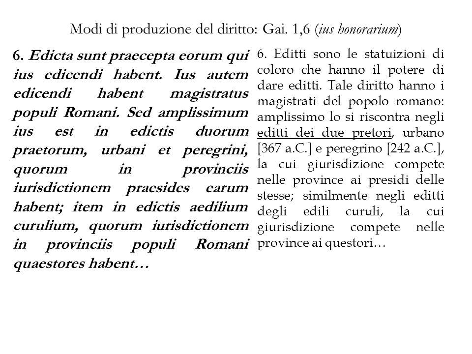 Modi di produzione del diritto: Gai. 1,6 (ius honorarium) 6. Edicta sunt praecepta eorum qui ius edicendi habent. Ius autem edicendi habent magistratu