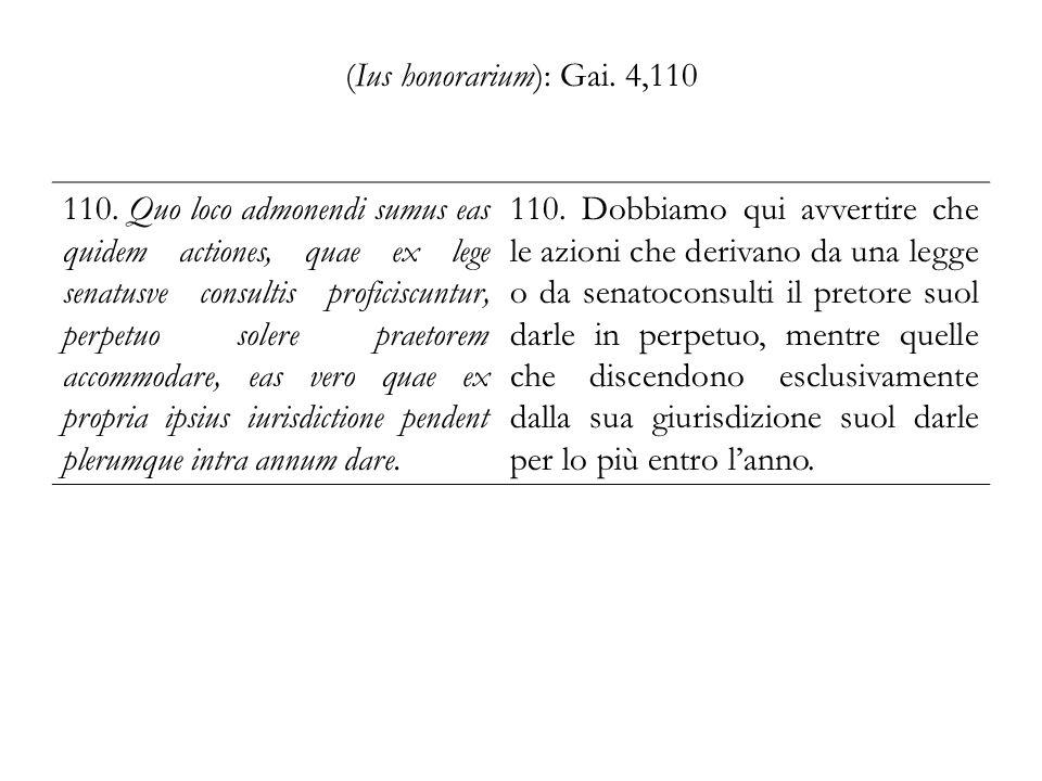 (Ius honorarium): Gai. 4,110 110. Quo loco admonendi sumus eas quidem actiones, quae ex lege senatusve consultis proficiscuntur, perpetuo solere praet