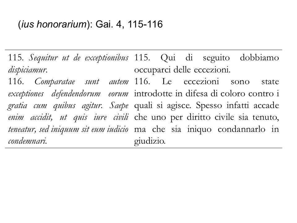 (ius honorarium): Gai. 4, 115-116 115. Sequitur ut de exceptionibus dispiciamur. 116. Comparatae sunt autem exceptiones defendendorum eorum gratia cum