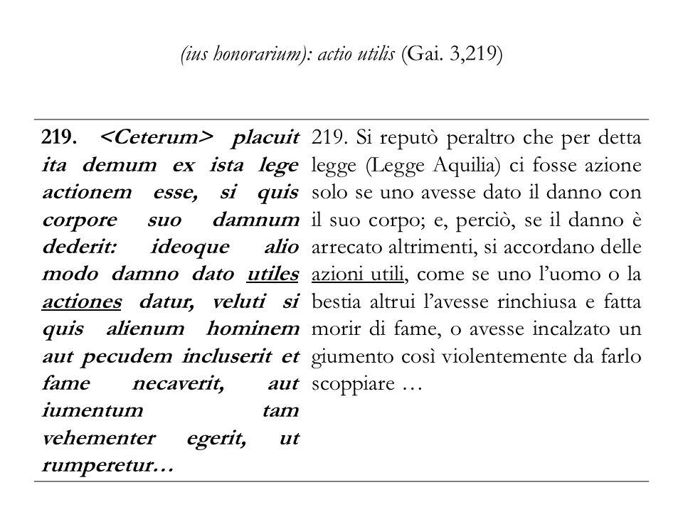 (ius honorarium): actio utilis (Gai. 3,219) 219. placuit ita demum ex ista lege actionem esse, si quis corpore suo damnum dederit: ideoque alio modo d