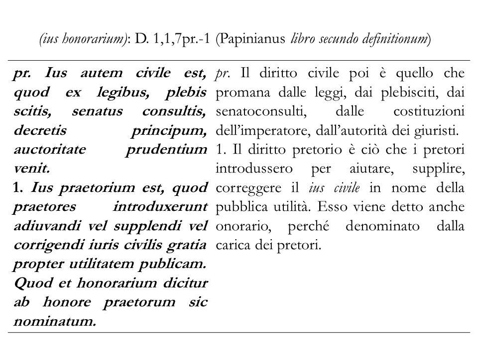 (ius honorarium): D. 1,1,7pr.-1 (Papinianus libro secundo definitionum) pr. Ius autem civile est, quod ex legibus, plebis scitis, senatus consultis, d