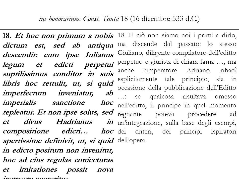 ius honorarium: Const. Tanta 18 (16 dicembre 533 d.C.) 18. Et hoc non primum a nobis dictum est, sed ab antiqua descendit: cum ipse Iulianus legum et