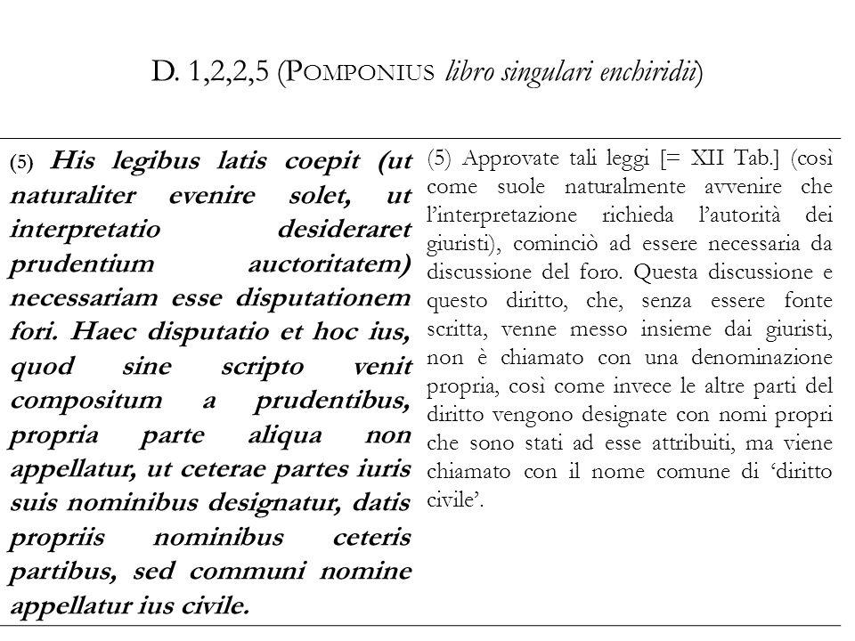 D. 1,2,2,5 (P OMPONIUS libro singulari enchiridii) (5) His legibus latis coepit (ut naturaliter evenire solet, ut interpretatio desideraret prudentium