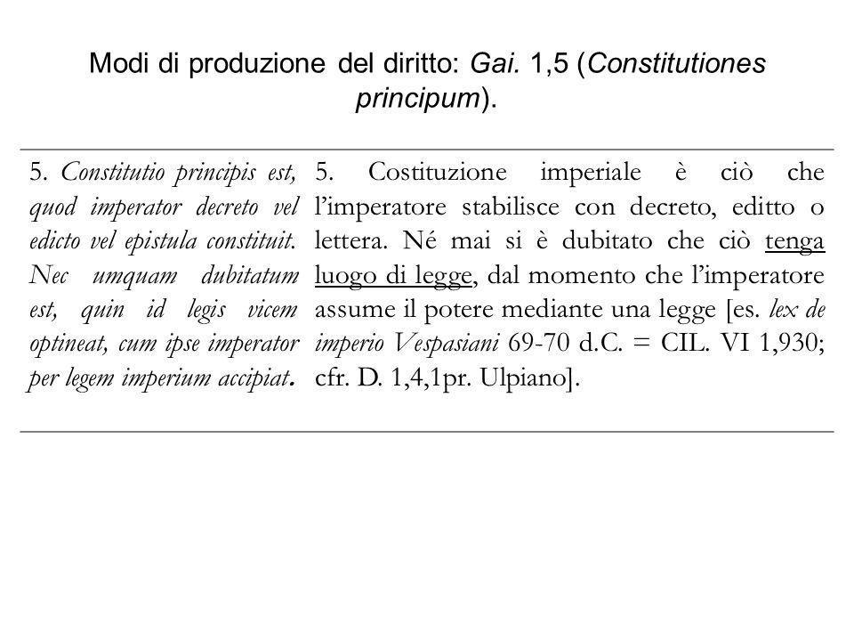 Modi di produzione del diritto: Gai. 1,5 (Constitutiones principum). 5. Constitutio principis est, quod imperator decreto vel edicto vel epistula cons