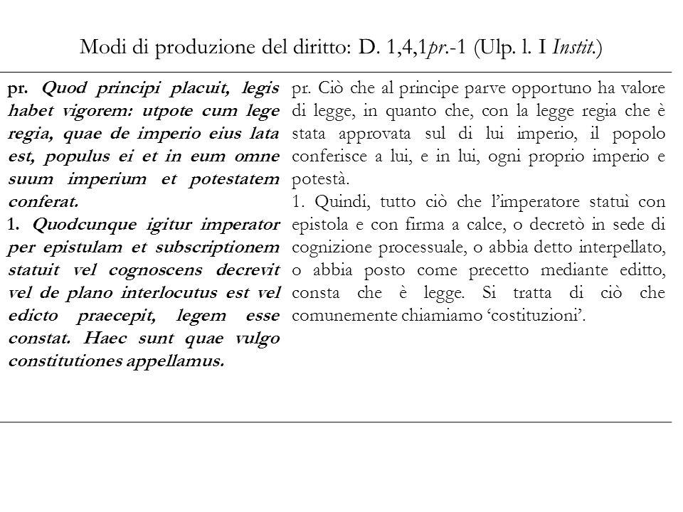 Modi di produzione del diritto: D. 1,4,1pr.-1 (Ulp. l. I Instit.) pr. Quod principi placuit, legis habet vigorem: utpote cum lege regia, quae de imper