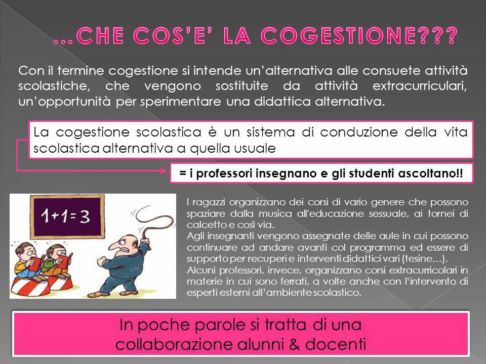 Con il termine cogestione si intende un'alternativa alle consuete attività scolastiche, che vengono sostituite da attività extracurriculari, un'opportunità per sperimentare una didattica alternativa.
