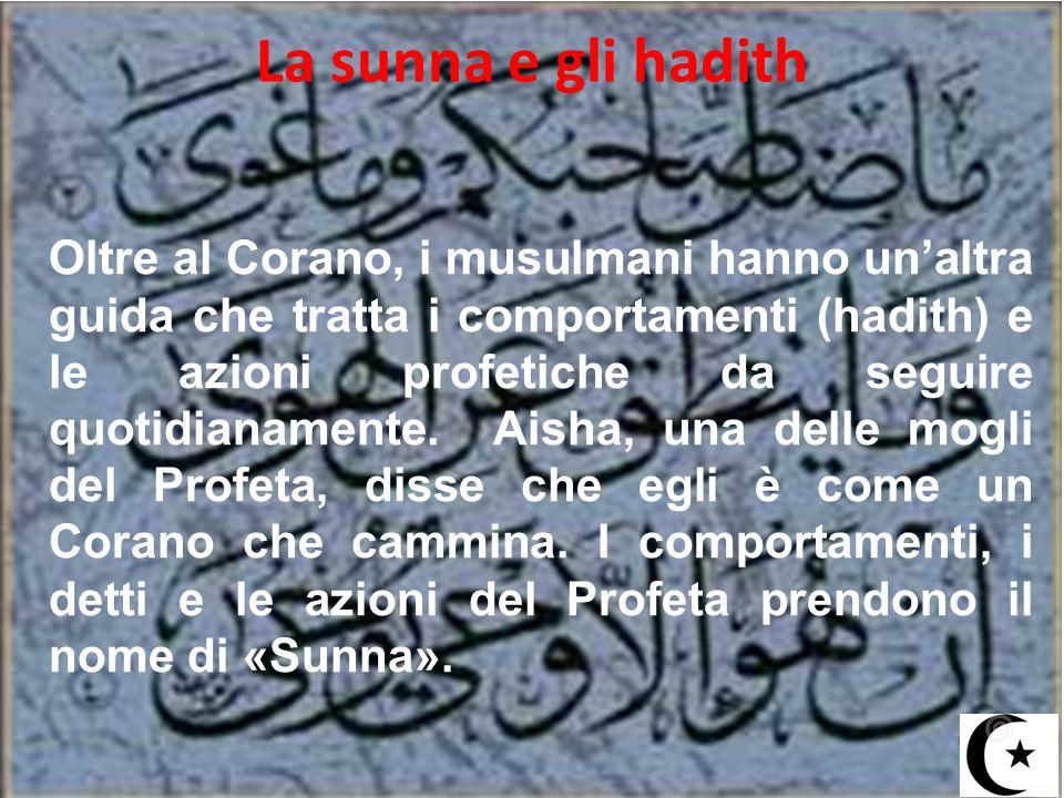 La sunna e gli hadith Oltre al Corano, i musulmani hanno un'altra guida che tratta i comportamenti (hadith) e le azioni profetiche da seguire quotidia