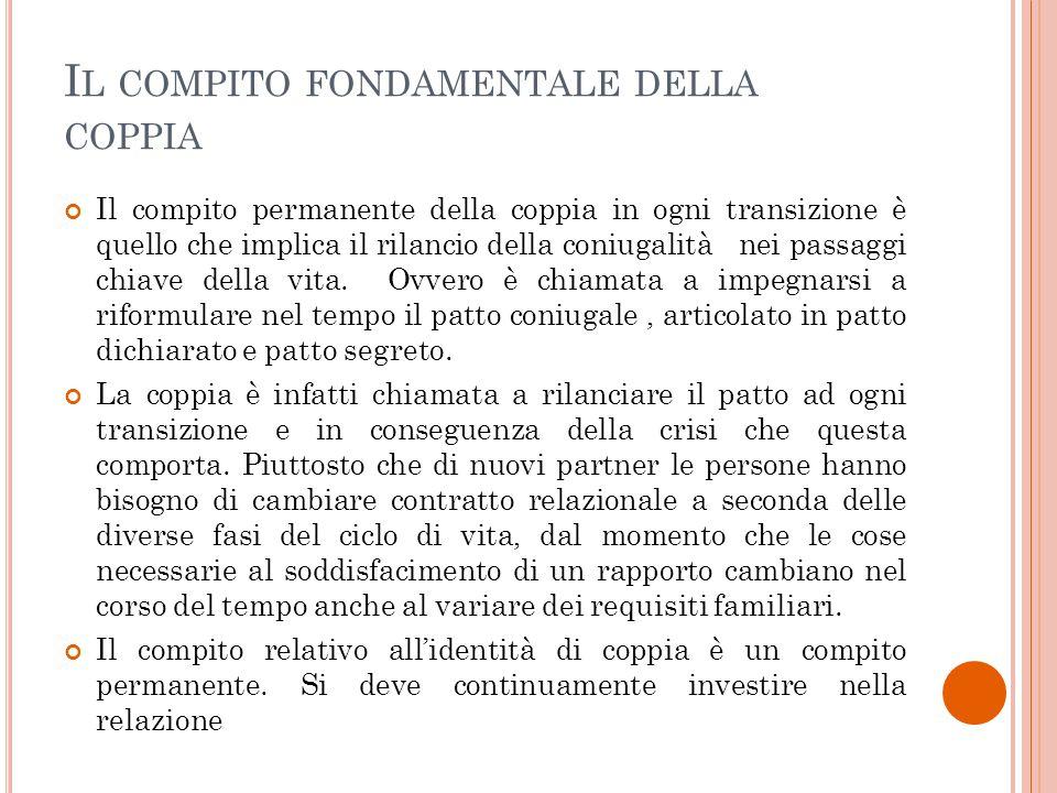 I L COMPITO FONDAMENTALE DELLA COPPIA Il compito permanente della coppia in ogni transizione è quello che implica il rilancio della coniugalità nei pa