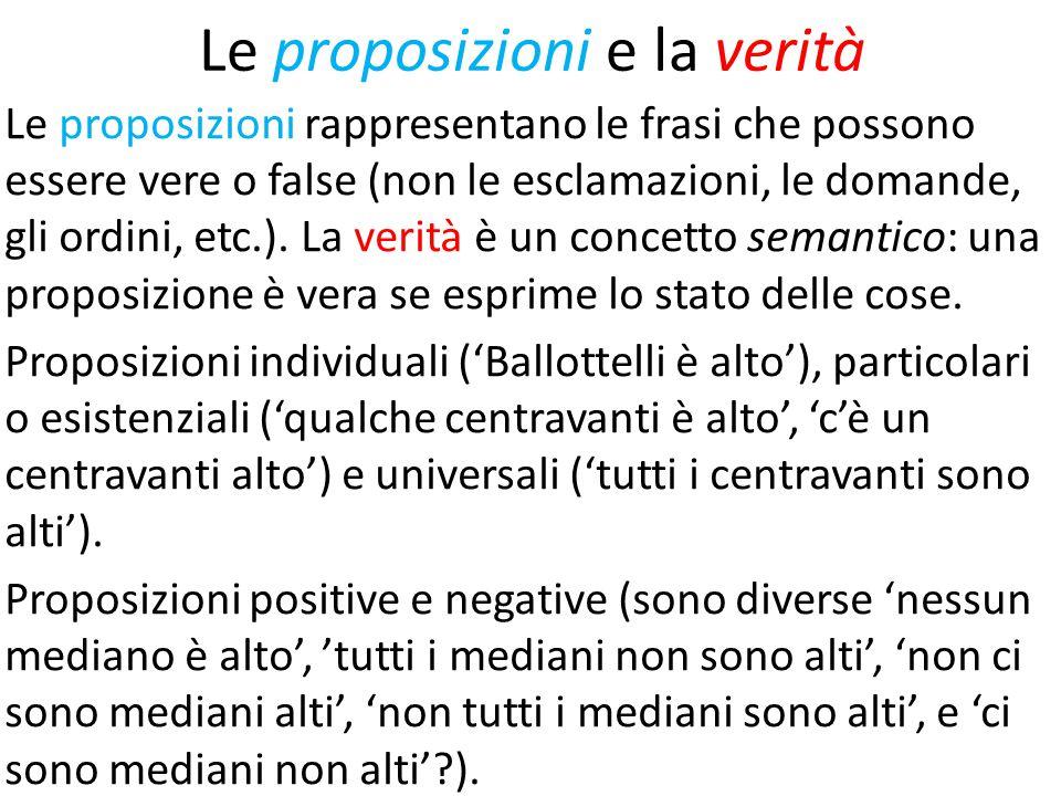 Le proposizioni e la verità Le proposizioni rappresentano le frasi che possono essere vere o false (non le esclamazioni, le domande, gli ordini, etc.).