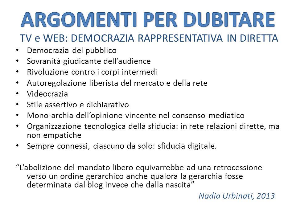 TV e WEB: DEMOCRAZIA RAPPRESENTATIVA IN DIRETTA Democrazia del pubblico Sovranità giudicante dell'audience Rivoluzione contro i corpi intermedi Autore