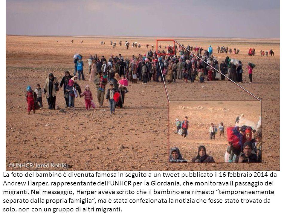 La foto del bambino è divenuta famosa in seguito a un tweet pubblicato il 16 febbraio 2014 da Andrew Harper, rappresentante dell'UNHCR per la Giordania, che monitorava il passaggio dei migranti.