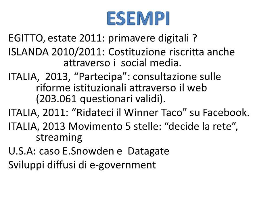 """EGITTO, estate 2011: primavere digitali ? ISLANDA 2010/2011: Costituzione riscritta anche attraverso i social media. ITALIA, 2013, """"Partecipa"""": consul"""
