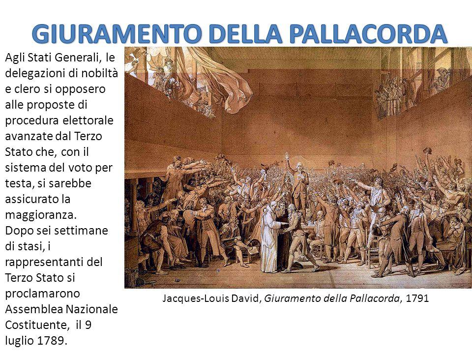 Jacques-Louis David, Giuramento della Pallacorda, 1791 Agli Stati Generali, le delegazioni di nobiltà e clero si opposero alle proposte di procedura elettorale avanzate dal Terzo Stato che, con il sistema del voto per testa, si sarebbe assicurato la maggioranza.
