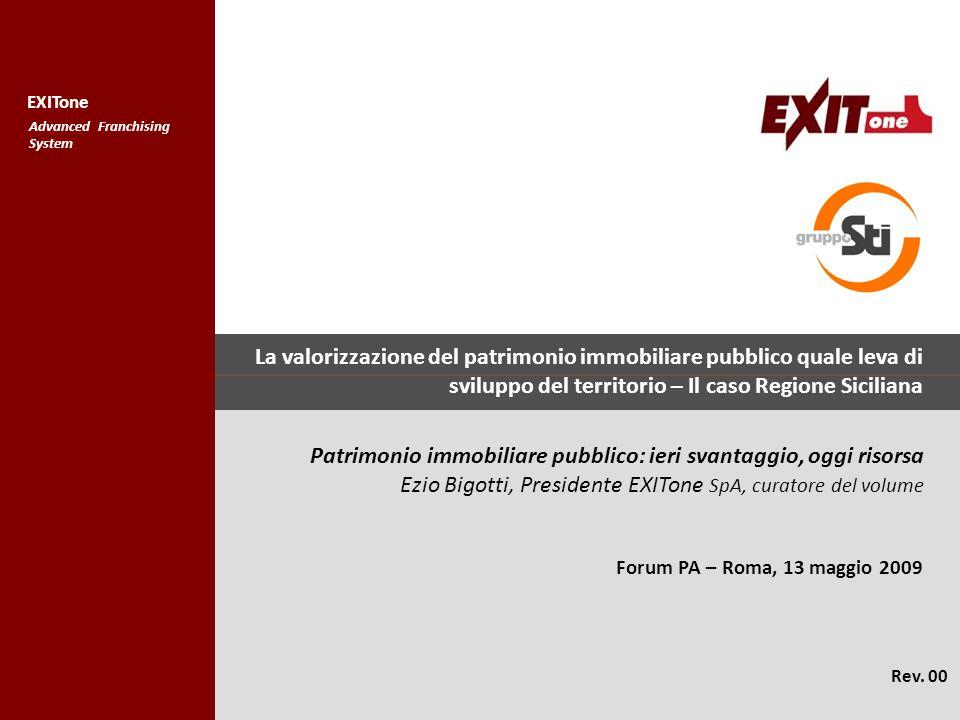 COPYRIGHT STI SpA 2004 EXITone AdvancedFranchising System La valorizzazione del patrimonio immobiliare pubblico quale leva di sviluppo del territorio – Il caso Regione Siciliana Forum PA – Roma, 13 maggio 2009 Rev.