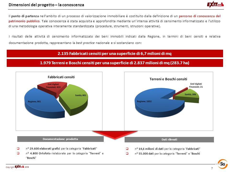 Copyright 2009 8 Dimensioni del progetto – il sistema informativo Sono stati impiegati oltre 400 tecnici siciliani sul campo (architetti, ingegneri, geometri e agronomi) ed altri 50 tecnici di altre regioni per le attività di verifica e collaudo.