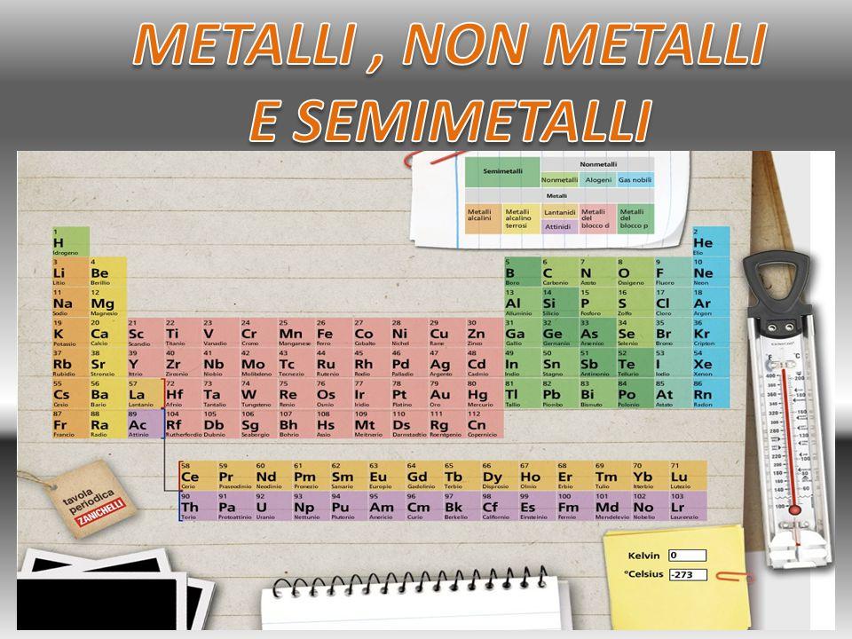 I materiali metallici sono più di 80 e occupano la parte sinistra del sistema periodico.