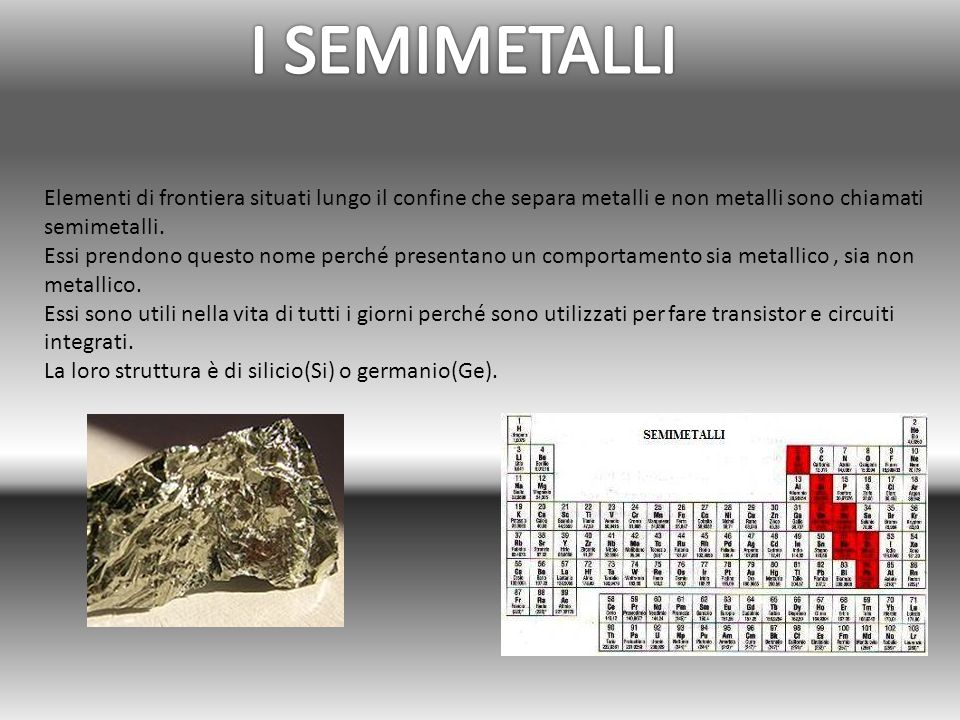 Elementi di frontiera situati lungo il confine che separa metalli e non metalli sono chiamati semimetalli. Essi prendono questo nome perché presentano