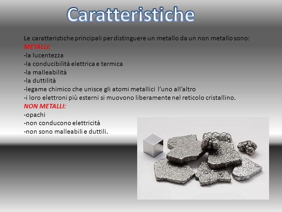 Le caratteristiche principali per distinguere un metallo da un non metallo sono: METALLI: -la lucentezza -la conducibilità elettrica e termica -la mal