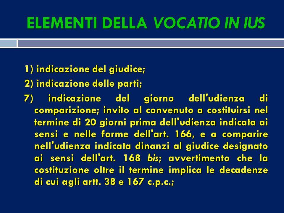 Elementi che possono anche mancare: 2) codice fiscale; 4) esposizione degli elementi di diritto, con le conclusioni; 5) indicazione dei mezzi di prova