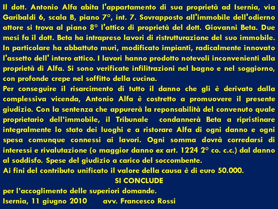 ANTONIO ALFA, residente ad Isernia, via Garibaldi 6, (LFANTN65F66F839C), elettivamente domiciliato ad Isernia, piazza Cavour 9, presso l'avv. Francesc