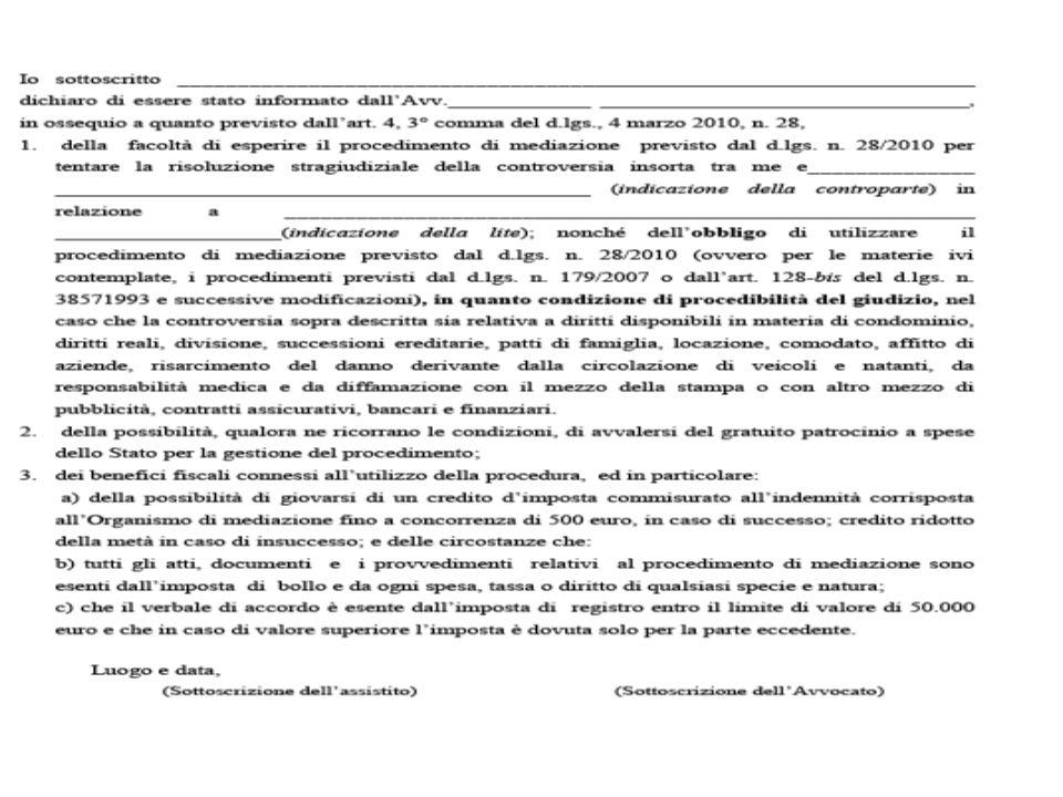 Art. 4, 3° co., d.lgs. 4.3.2010 n. 28  All'atto del conferimento dell'incarico, l'avvocato è tenuto a informare l'assistito della possibilità di avva