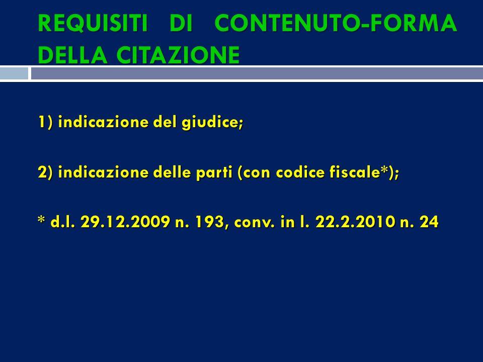 REQUISITI DI CONTENUTO-FORMA DELLA CITAZIONE 1) indicazione del giudice; 2) indicazione delle parti (con codice fiscale*); * d.l.